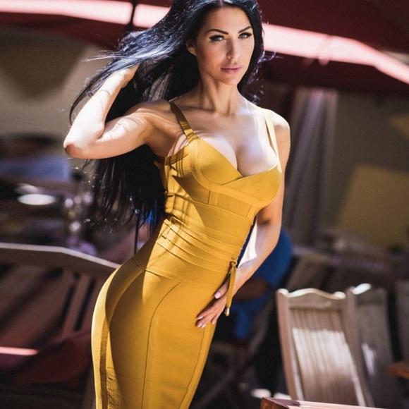 89e565181ca43 ASOS Dresses | Mustard Bandage Dress | Poshmark